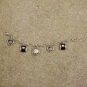 Brighton black and silver heart charm bracelet
